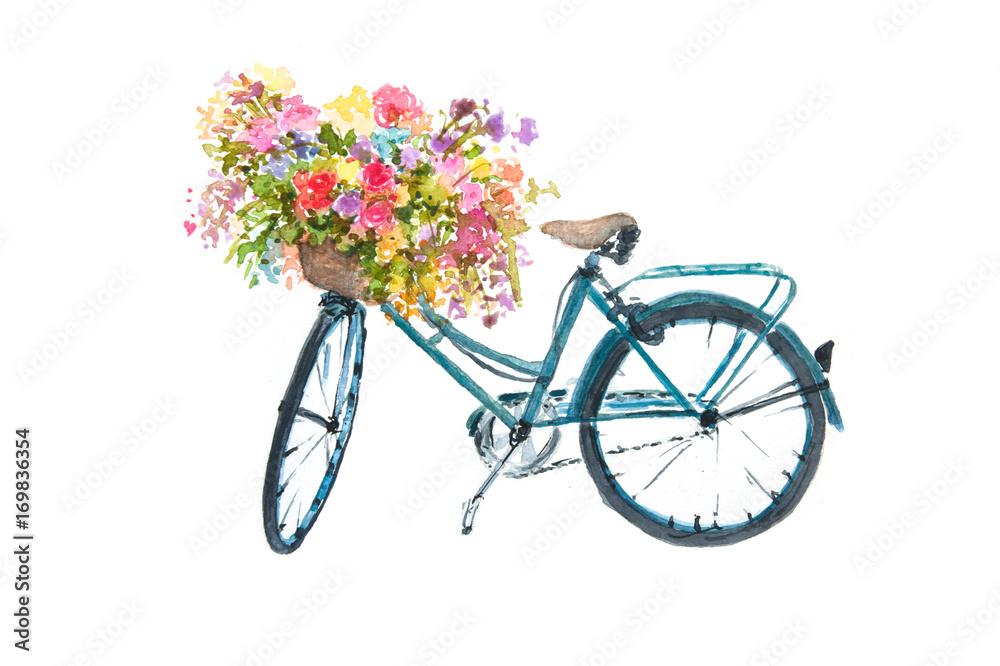 Retro błękitny bicykl z kwiatem na białym tle, akwarela ilustrator, rower sztuka