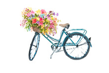 Retro Blue Bicycle With Flower On White Background, Watercolor Illustrator, Bike Art