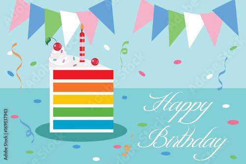 Photo  happy birthday greeting card vector illustration