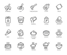 Line Isolated Icons On Kitchen Theme. Outline Labels For Cooking Projects, Home Appliances, Products, Stickers, Printing In Books, Buttons On Sites And Apps. Editable Stroke. 48x48 Pixel Perfect