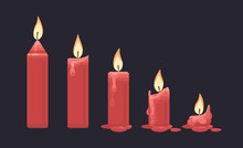 Burning Red Candle On Dark Background. Vector Flat Illustration.