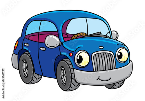 Spoed Foto op Canvas Cartoon cars Funny small car with eyes.