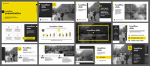 Yellow Presentation Templates Elements On A White Background. Vector Infographics. Use In Presentation, Flyer And Leaflet, Corporate Report, Marketing, Advertising, Annual Report, Banner.