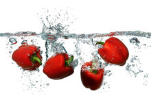 Bright Red Bell Peppers Splash...