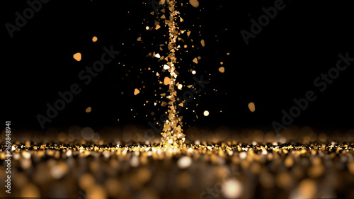 Plakat Strumień brokat złoto czarne tło. 3d ilustracja, 3d rendering.