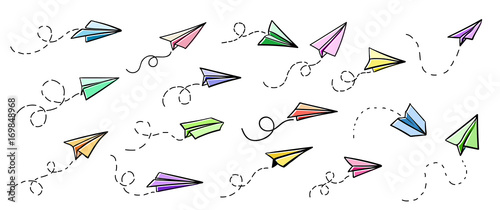 Vector paper airplane. Travel, route symbol. Set of colourful vector illustration of hand drawn paper plane. Isolated. Outline. Hand drawn doodle airplane. Black linear paper plane icon
