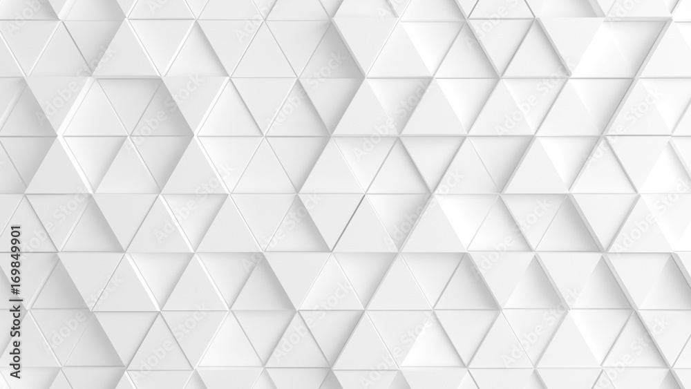Fototapety, obrazy: White background with triangles. 3d image, 3d rendering.