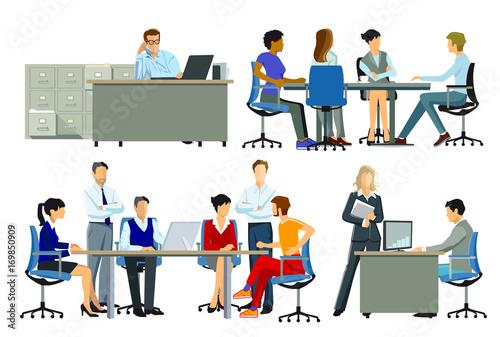 Buroarbeitsplatz Gruppe Von Personen Am Arbeitsplatz Illustration