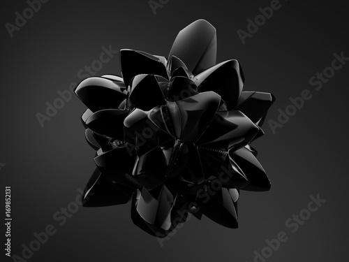 Fotografie, Obraz  Black background with 3d shape. 3d illustration, 3d rendering.