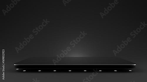 Fotografie, Obraz  Black background with a pedestal, 3d illustration, 3d rendering.