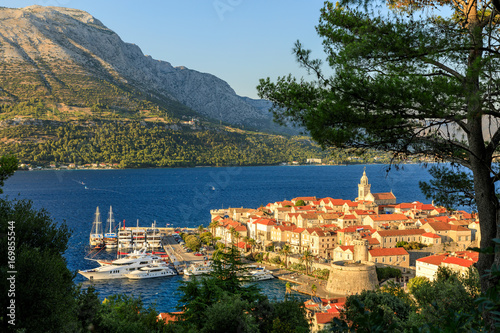 Fotografie, Obraz  Sunset view of Korcula Old Town, Croatia