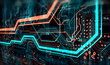 canvas print picture - Printed circuit board in the server  executes the data/Abstract technological background made of different element printed circuit board. Depth of field effect and bokeh