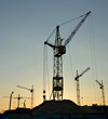 Silhouettes of tower cranes on the background of the sunset