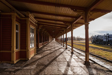 Old Train Station. Wooden Wrok From Last Century, Vintage Style Of Northern Europe.