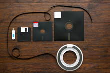 The Old 8-inch, 5.25-inch, 3.5-inch Floppy Disk, Magnetic Tape For An Old IBM Computer, A Comparison With Floppy