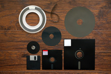 The Old 8-inch 5.25-inch, 3.5-inch Floppy Disk, Magnetic Tape For An Old IBM Computer, A Comparison With Floppy Inside Part