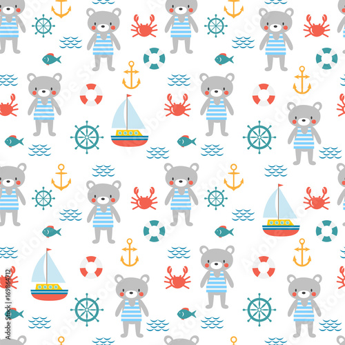 Valokuva  Seamless pattern with cute little bear sailor