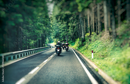 Photo  Group of bikers on the highway