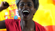 Leinwanddruck Bild - Spanish Young Black Woman Celebrating with Spain Flag