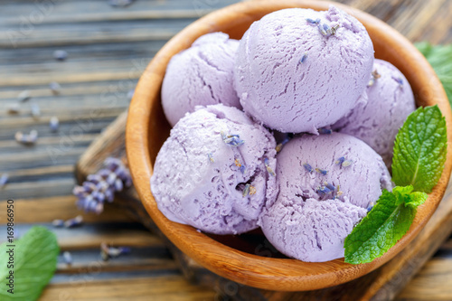 Homemade lavender ice cream.
