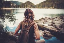 Beautiful Woman Hiker Near Gru...