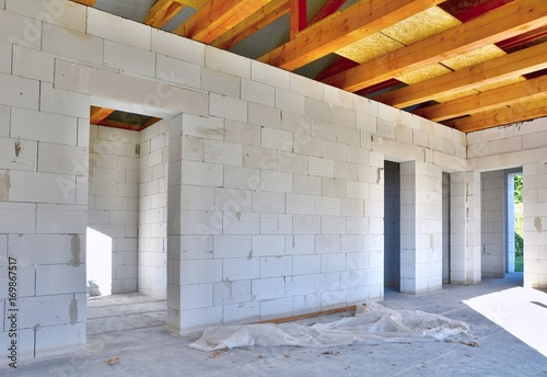 Interior of a new house construction made with aerated concrete blocks Canvas Print