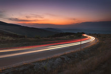 Abstract Trails In Motion Blur At Idyllic Scenery