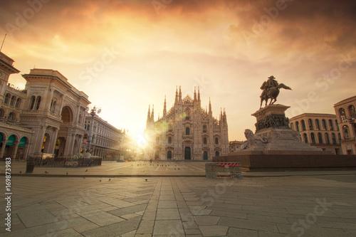Garden Poster Milan Sunrise in Piazza Del Duomo
