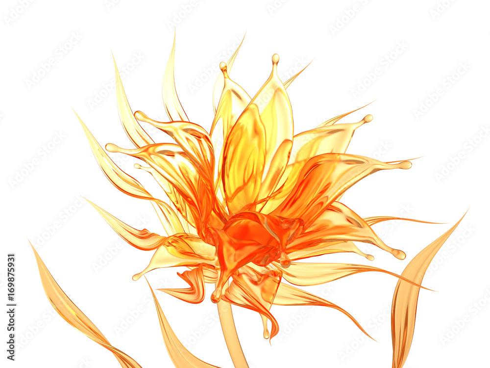 Splash orange juice isolated white background. 3d illustration, 3d rendering.