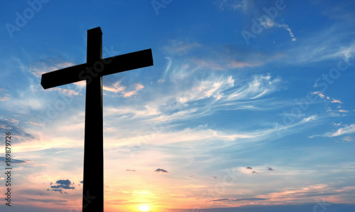 Fotografie, Obraz  Cross over bright sunset background
