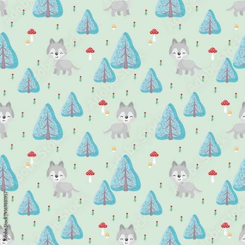 Fototapeta Baby colorful seamless pattern with the image of a cute woodland animals Vector background