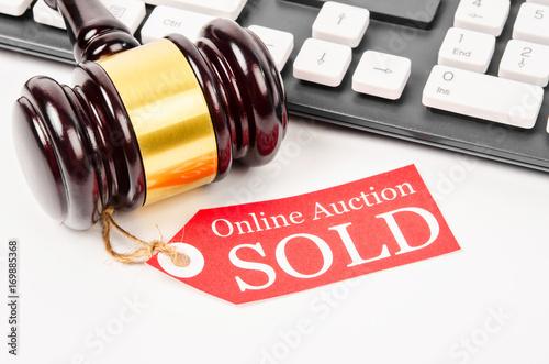 Photo Online auction sold concept.