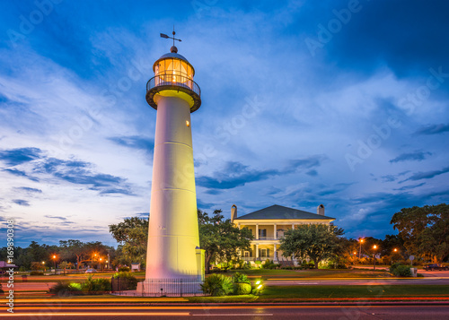 Fototapeten Leuchtturm Biloxi Lighthouse in Biloxi, Mississippi, USA