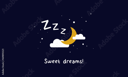 Cuadros en Lienzo Sweet Dreams! (Moon Clouds and Stars Z's Sleeping Art Vector Illustration in Fla