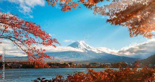 Aluminium Prints Autumn Mount Fuji in Autumn Color, Japan