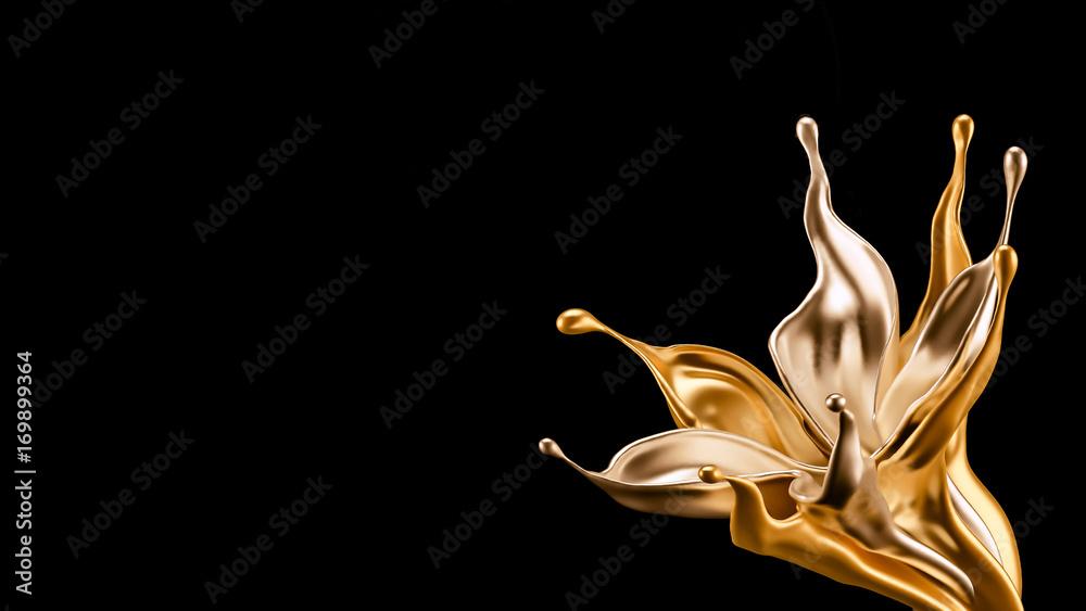 Splash gold black background. 3d illustration, 3d rendering.