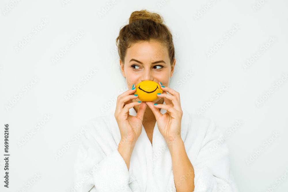 Fototapeta woman in white bath towel