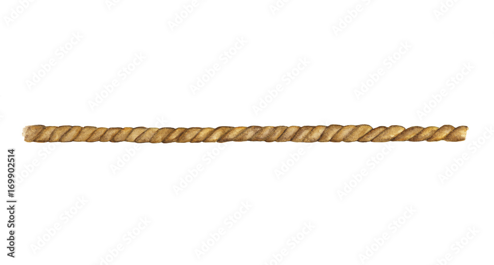 Fototapety, obrazy: Watercolor painting of Brown rope string isolated on white background
