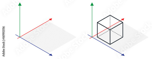 Photo Isometric drawing a thirty degreesangle is applied to its sides