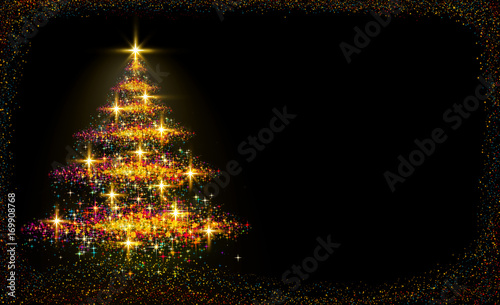 Christmas tree lights background. Canvas Print