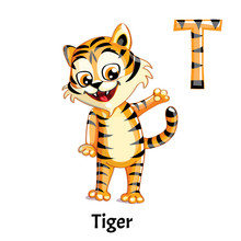Vector Alphabet Letter T. Tiger