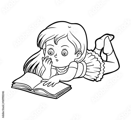 Coloring book, Young girl reading a book – kaufen Sie diese ...
