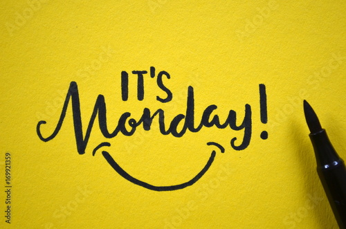 IT'S MONDAY hand lettered on yellow background плакат