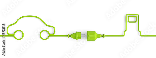 Fotografía  Green power plug connection cable between car and service station shape - open