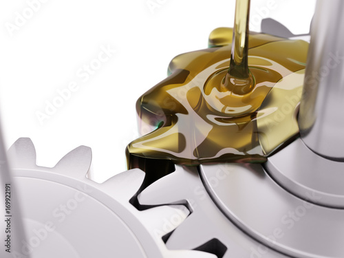 Fotomural Pouring Lubricant on Gearwheel Closeup 3d Illustration