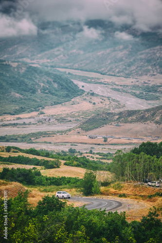 Foto op Plexiglas Zuid Afrika View of mountains Babadag in the clouds and a river Girdimanchay Lahij yolu from the side in Lahic village, Azerbaijan