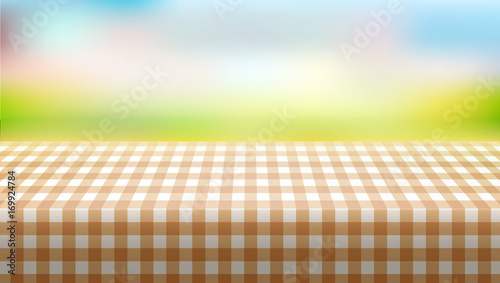 picnic table covered with tablecloth on blurred background buy