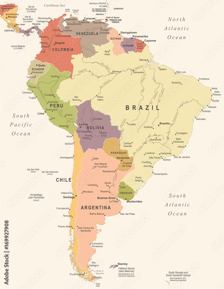South America Map - Vintage Vector Illustration Foto, Poster ...