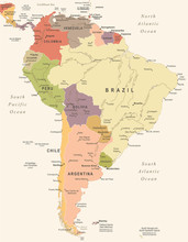 South America Map - Vintage Ve...
