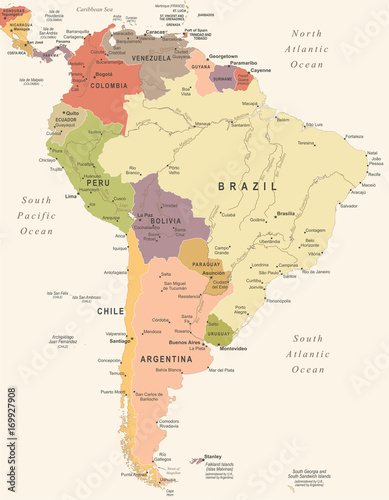 Fotografie, Tablou  South America Map - Vintage Vector Illustration